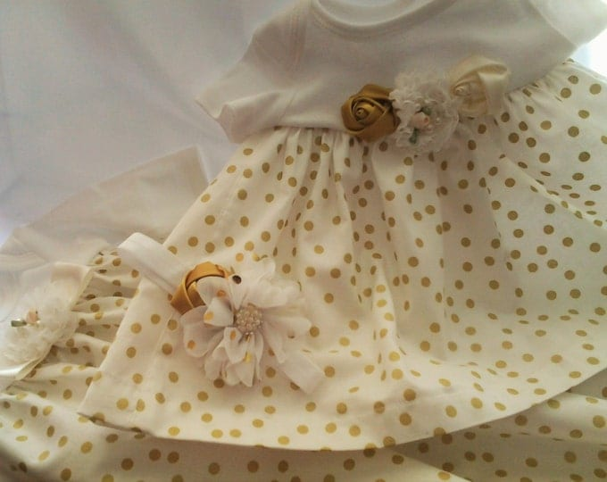 Infant girl Ivory polka dot Take me home gown and matching hairband your choice