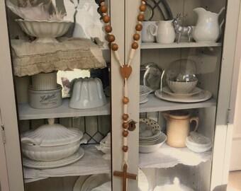 Beautiful Long Handmade Vintage Primitive Religious Wood Rosary Cross