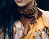 Fragments of Time     Leather rich brown deer leather neck crowl scarf neck piece  leather burning man tribal fusion larp belly dance