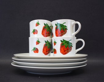 Vintage Georges Briard Strawberry Luncheon Plates & Cups, Set of 4 (E7648)