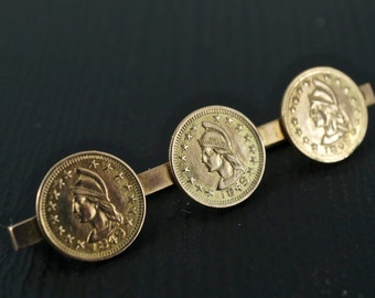 1848 CALIFORNIA GOLD Coin Brooch. 14k. 10kt  Gold Rush.Coin Token. Pin. Antique  Jewelry No.001289 Hs