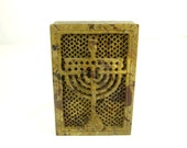 Judaica Soapstone Menorah Hand Carved Box with Lid Beige Brown Amazing Beautiful Details