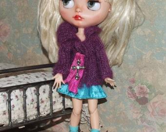 SALE - Ooak Custom Blythe Purple Plum Grape Kid Mohair Silk Yarn Long Shawl Collar Sweater Cardigan Hot Pink Sari Silk Silver Cross
