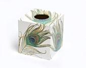 White Peacock  Tissue Box Cover wooden handmade