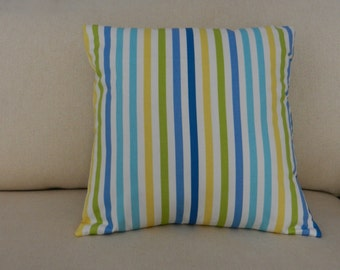 """Stripes Pillow Cover  Blue, Green, Yellow, White Authentic Waverly Home Decor Fabric, """"Line Up""""  18 x 18 inch with zipper closure"""