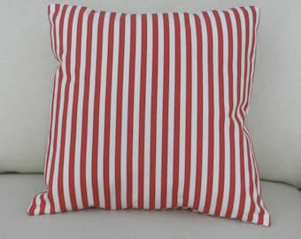 Red and White Stripe Throw Pillow Cover, 18 x 18 inch with zipper closure, Bedroom, Sofa, Nursery