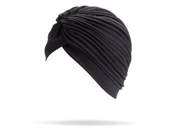 Black Turban full headband, headpiece, hair turban, boho headband