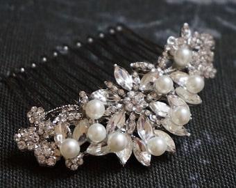 Wedding hair comb, crystal hair comb, bridal hair comb, Crystal & Pearl hair comb, bridesmaid hair comb, bride hair jewelry,bridal headpiece