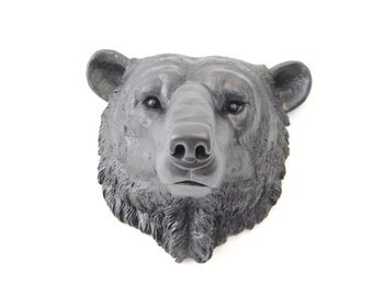 Polar Bear Head Wall Mount - Faux Taxidermy - Black Polar Bear Wall Mount - Arctic polar bear Faux Taxidermy PBE17