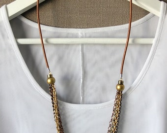 Copper, gold and bronze chain necklace