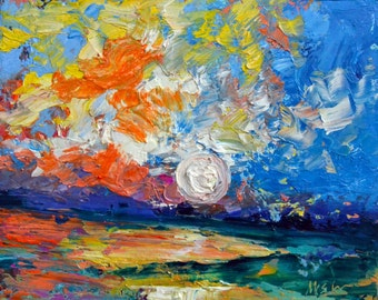 Colorplay  - Original Abstract Oil Painting Landscape Painting by Claire McElveen , 8 x 10