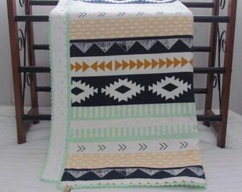 """Arizona minky blanket - 30"""" x 36""""- minky baby blanket- Aztec minky blanket- modern baby blanket- crib minky blanket- toddler minky blanket"""