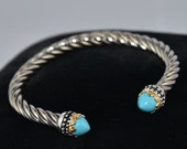 Twisted Sterling Cable Cuff Bracelet with 14K Gold Bezel Set Turquoise Gemstone Endcaps