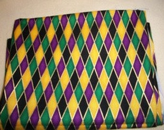 Purple, Black Green & Gold Geometric Print Cotton Fabric