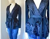 Boston Proper Vtg Sweater Wrap Around Cardigan Robe Front Tie Waist Victorian Inspired Black on Black Feminine Goth XS/S Soft Stretch