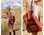 Handmade Woven Wool Blanket Backpack Hippie Boho Festival Pockets Leather Boot Keychain Summer Book Bag School