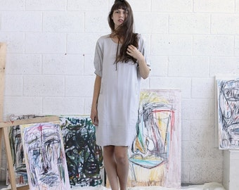 Summer SALE Embroidered Dress, Silver Midi Dress, Casual Dress