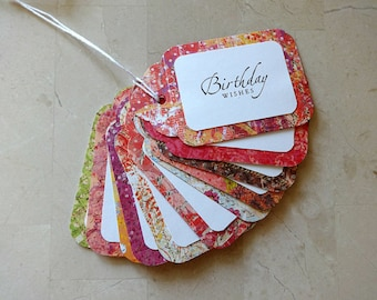 Gift Tags, Gift Tag Set, Assorted Gift Tags, Paper Tags, Birthday Gift Tags, Hanging Tags, Set of 12 Tags, 12 Large Tags, Birthday Wishes