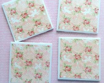 Shabby Chic Handmade Coasters, Ceramic Cherub Coasters, Angel Coasters, Pink Ceramic Coasters, Set of 4 Coasters