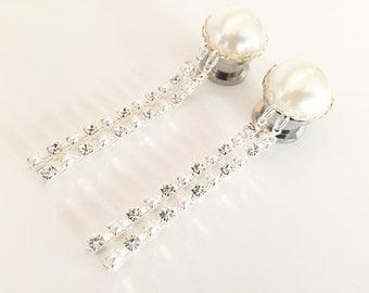 "1/2"" Rhinestone Plugs Pearl Bridal Dangle Plugs 9/16 inch Gauges 000g 7/16"" Formal Wedding Dangly Ear Plugs 11mm 12mm 14mm"