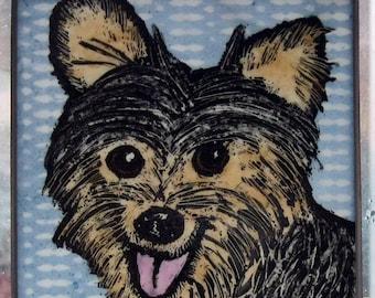 Stained Glass Dog SuncatcherYorksire Terrier  JRN202
