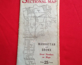 Vintage Map of Manhattan and the Bronx