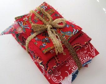 Assorted Cotton Christmas Prints, Destash Fabric Scraps, 1 pound