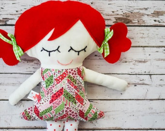 Plush Girl Doll with Light Skin and Red Hair