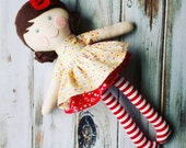 "Ready-To-Ship 17"" Ruby Doll,  Rag Doll, LollyPoppet Doll, SpunCandy, Handmade Doll, Cloth Doll, Fabric Doll, Brunette Doll, Baby Doll"