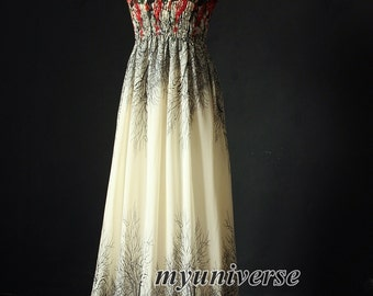 Maxi Dress Tree Branches Chiffon Dress Women Dress Plus Size Floral Ivory Dress
