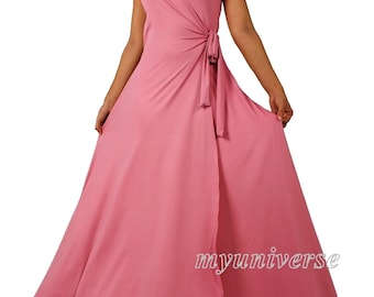Bridesmaid Dress Infinity Dress Wrap Formal Dress Jersey Wedding Evening Gown Pastel Peach Pink Ball Night Dinner Women Long
