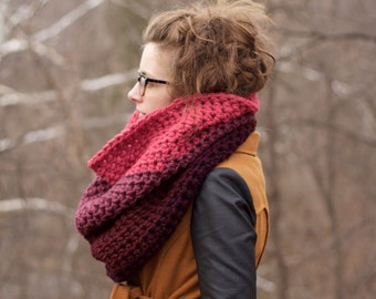 Extra Chunky Cowl / Large Crochet Cowl / THE HIGH RISE / Pink Cowl / Ombre Cowl / Purple Cowl