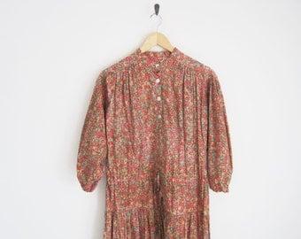 70s Floral Print Dress. Gunne Sax Dress. Floral Prairie Dress with Ruffle Skirt. Red Dress. 70s Dress. Full Hippie Boho Dress. Country Dress