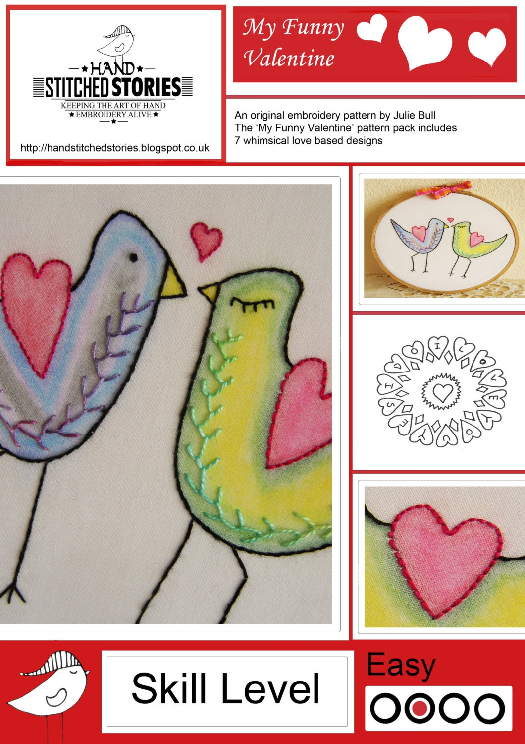Hand embroidery pdf pattern my funny valentine from