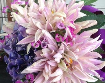 Dahlia and Hydrangea bouquet , lavendar bouquet,bridal bouquet,purple bouquet,artificial bouquet,garden bouquet,Counrty bouquet,wedding
