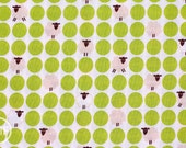 Sheep Dots in Lime Green, Westex, Japanese Import Fabric, 100% Cotton Fabric