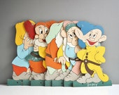 Collectible Hand-Painted Snow White and the Seven Dwarves Wooden Cut-Outs or Wall Hangings