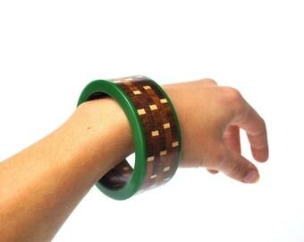 Vintage Lucite and Teak Bangle Bracelet