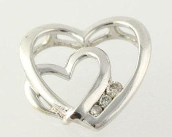 Heart Shaped Diamond Pendant - 925 Sterling Silver Women's Fine Estate Love  H9845