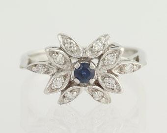 Floral Sapphire & Diamond Ring - 14k White Gold Size 6 Women's .35ctw L8724