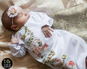 Baby girl personalized name gown, coming home outfit, layette girl, newborn baby gown Baby girl personalized name gown