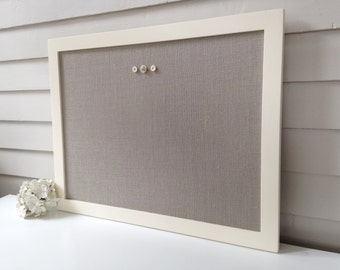 Modern Magnetic Burlap Bulletin Board 20.5 x 26.5 inches Handmade White Wood Frame Cream and Gray Magnet Board Fabric Covered Memo Board