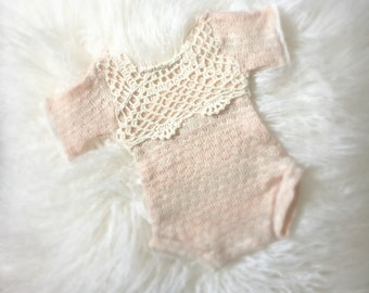 Newborn Antique Peach Sweater Knit Romper, lace, baby romper, newborn clothing, baby girl, photography prop, peach, ready to ship