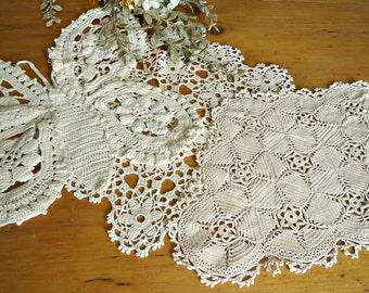 3 Crocheted Doily Ecru Crochet Doily Butterfly Vintage Doilies Doilies  D15