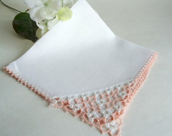 Handkerchief Hanky Hankie Vintage White  With Pink Tatted Edge