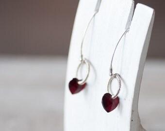 Red Heart Earrings, Crystal Heart Earrings, Romantic Earrings, Valentine Jewelry, Gift For Girlfriend, Gift For Wife, Swarovski Crystal Gift