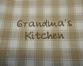 Grandma's Kitchen, Embroidered Towel, Christmas Gift Idea for Grandma, Kitchen Embroidery, Beige White Checked Towel, Kitchen Decor, Linens
