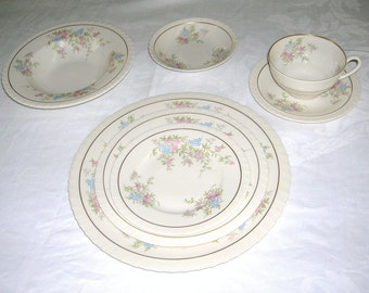 Vintage 7 Piece Place Setting Syracuse China Spring Time Pattern Circa 1970's