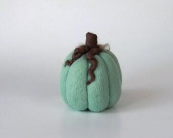 Needle Felted Pumpkin Mint Mocha Thanksgiving Wool Fall Felt Autumn Decor Halloween
