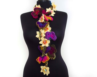 Butterfly flower  crochet  lariat scarf ,lariat crochet jewelry,spring scarf